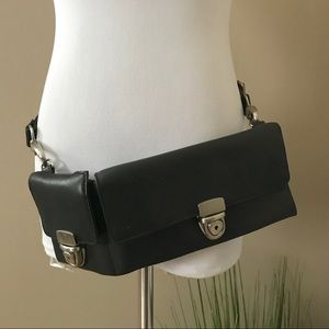 Vintage Black Leather Waist Belt Fannie Pack Purse